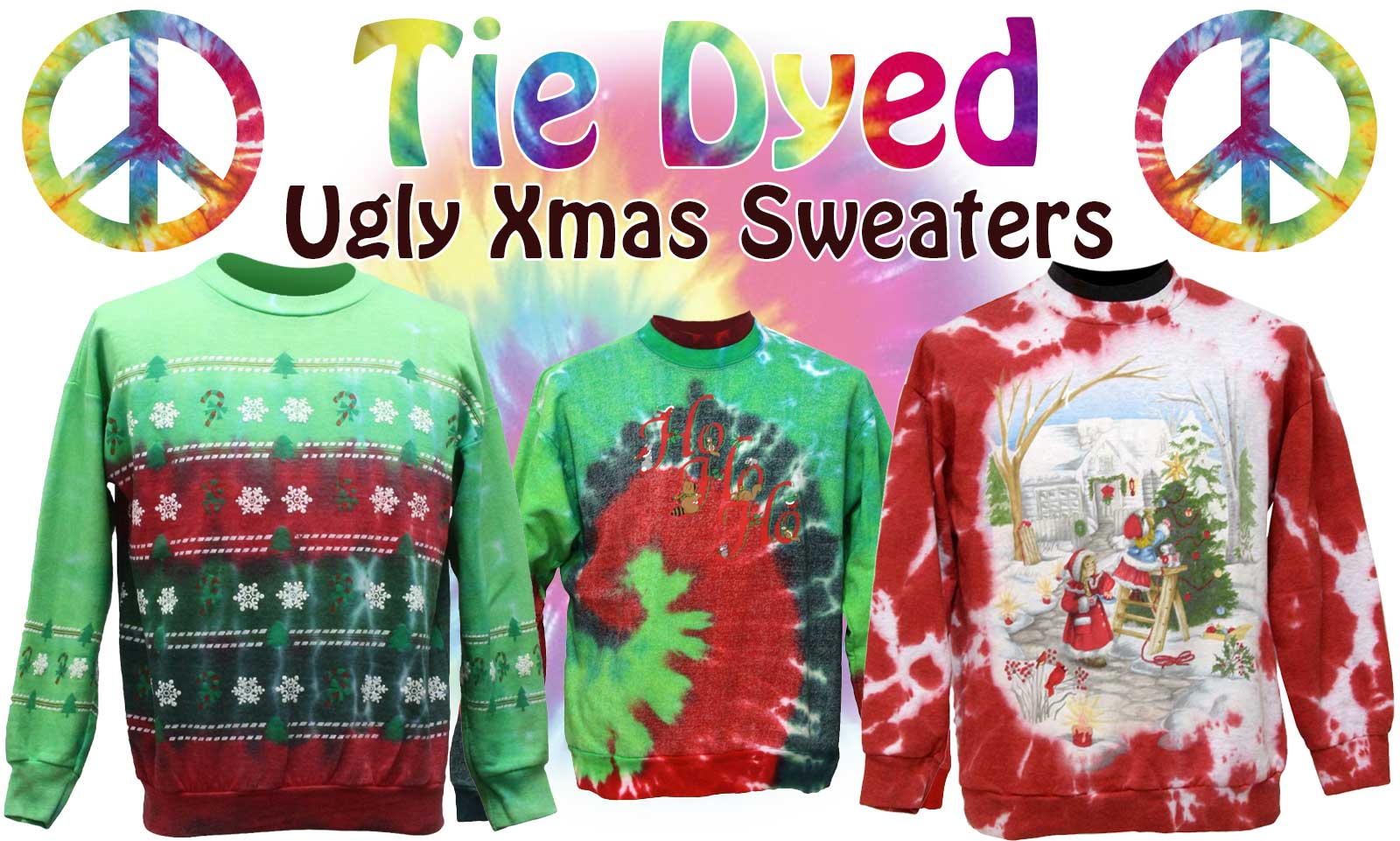 Tacky Hand Tie Dyed Ugly Christmas Sweatshirts At