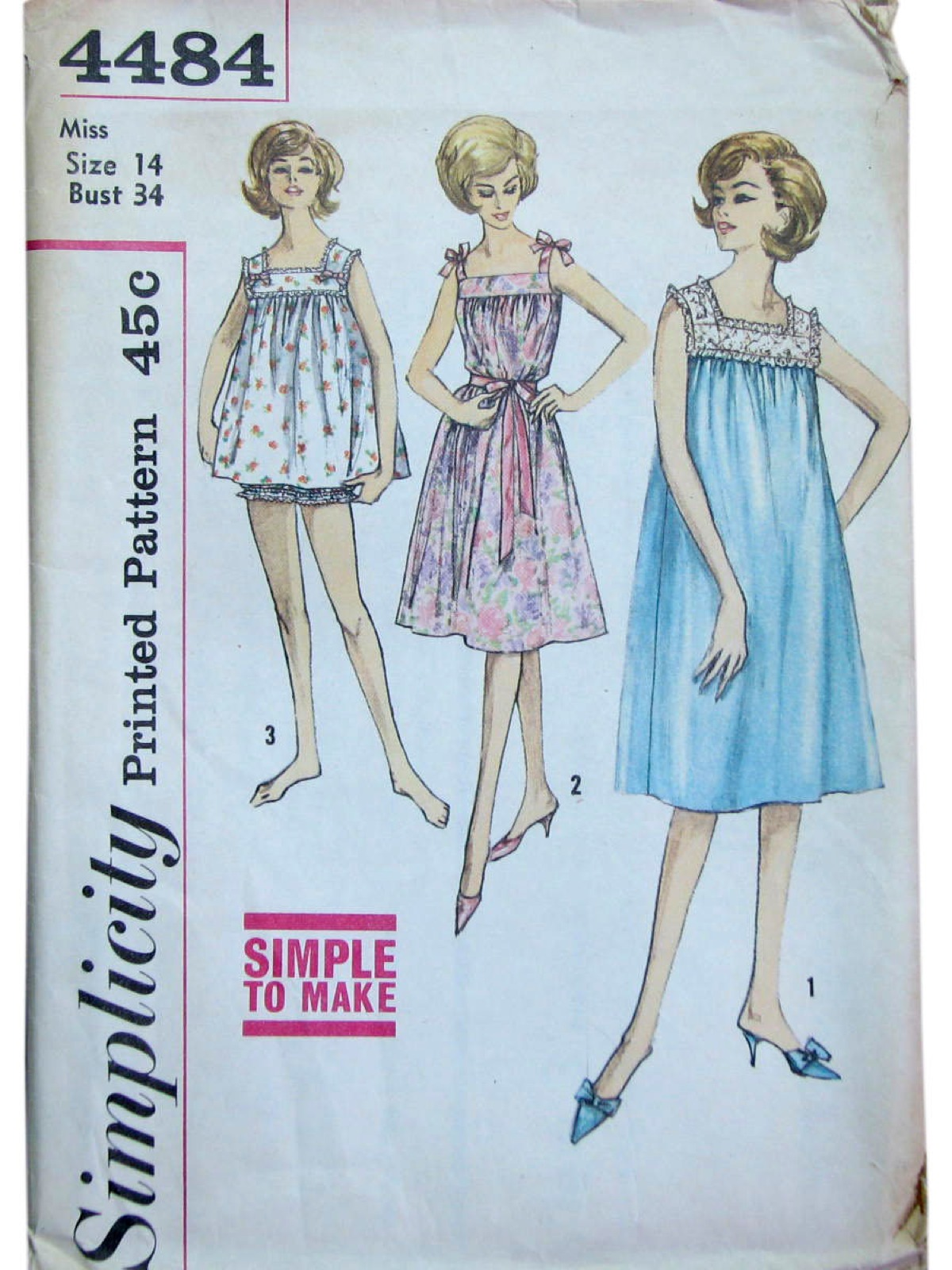 319768376a Vine 40s Sewing Pattern Simplicity No 4484 Misses
