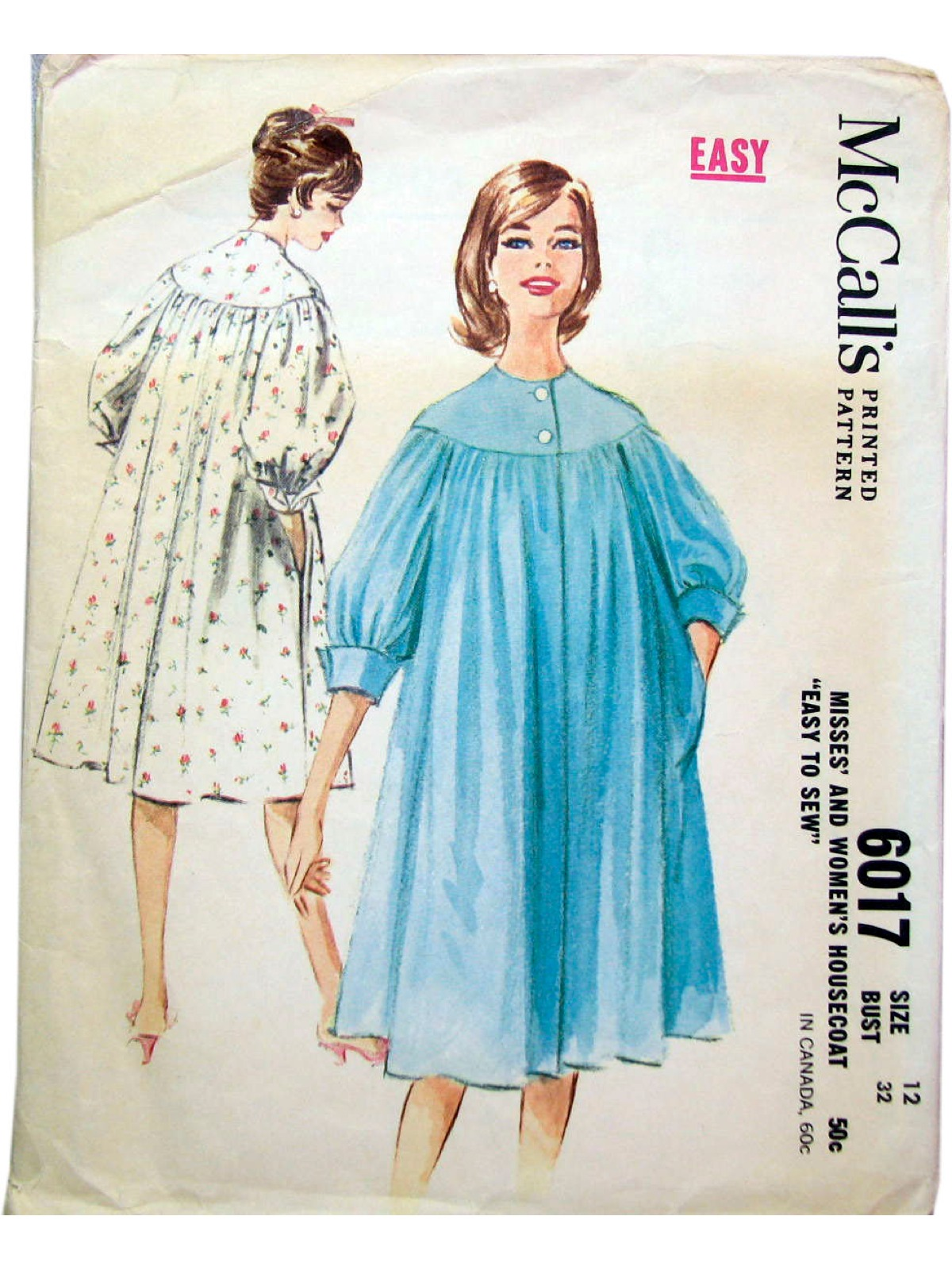 1960s Vintage Sewing Pattern  60s -McCalls Pattern No. 6017- Misses  housecoat. Raglan sleeved housecoat ac2435cb1