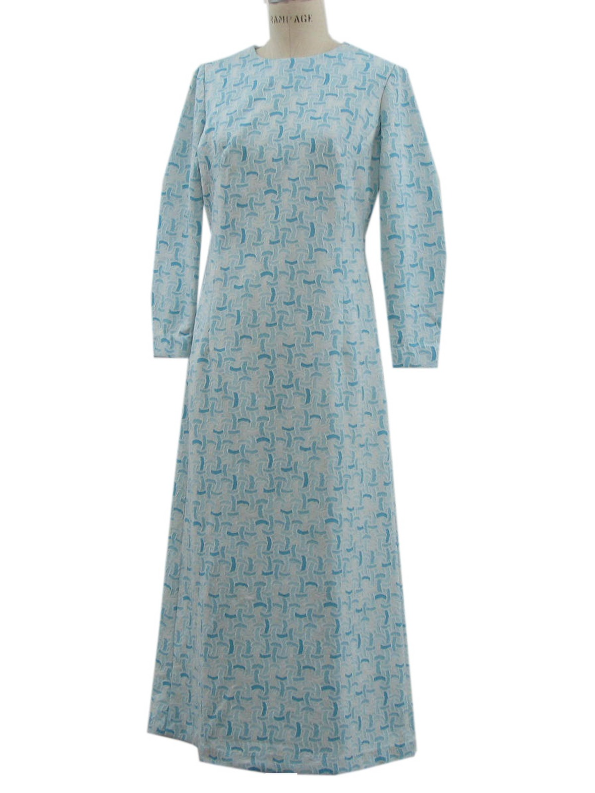 Long Sleeve Knit Dress Pattern : Vintage Sixties Dress: 60s -no label- Womens turquoise and white polyester kn...