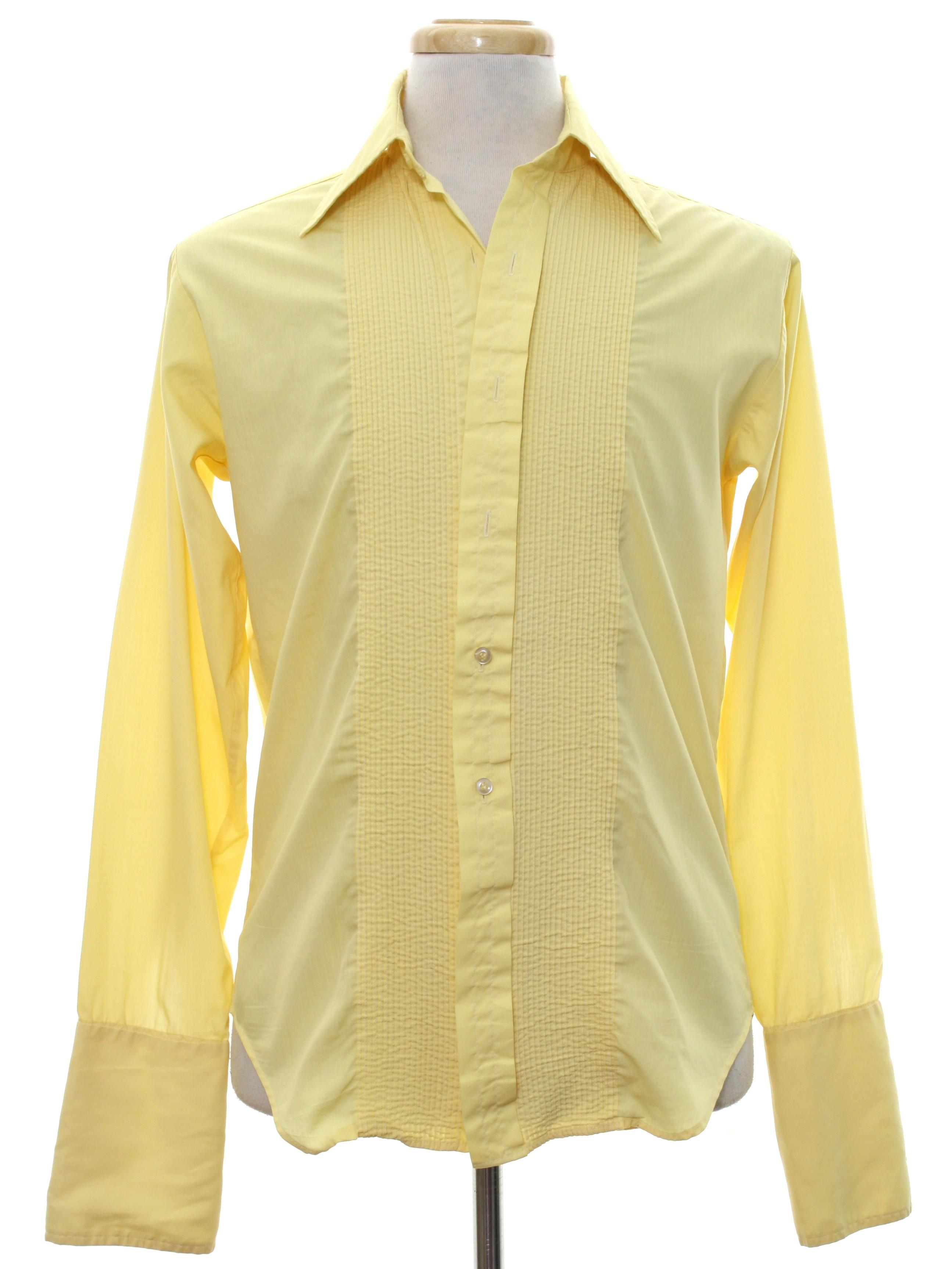 Retro seventies shirt 70s l m fashions mens pale for Tuxedo shirt no studs