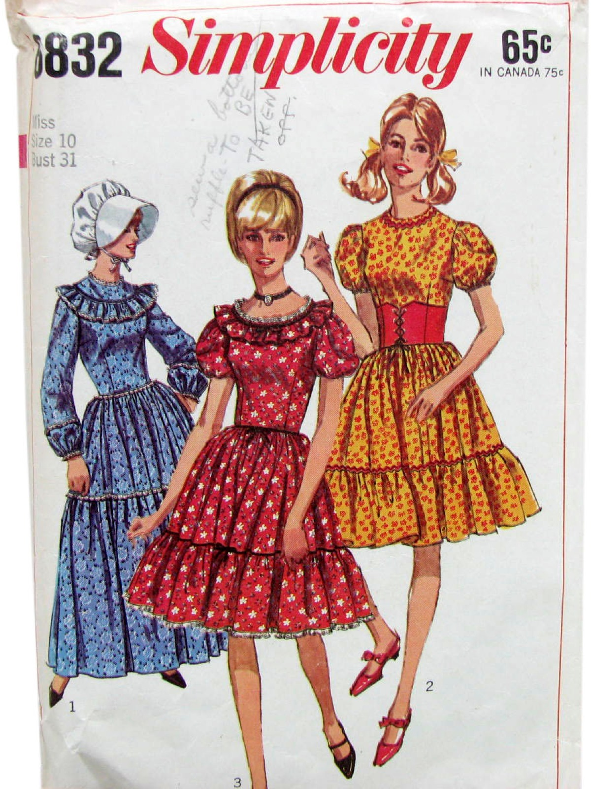 Vintage Simplicity Pattern No 6832 1960s Sewing 60s Womens Prairie Dress That Is Shown In Two Lengths Bonnet
