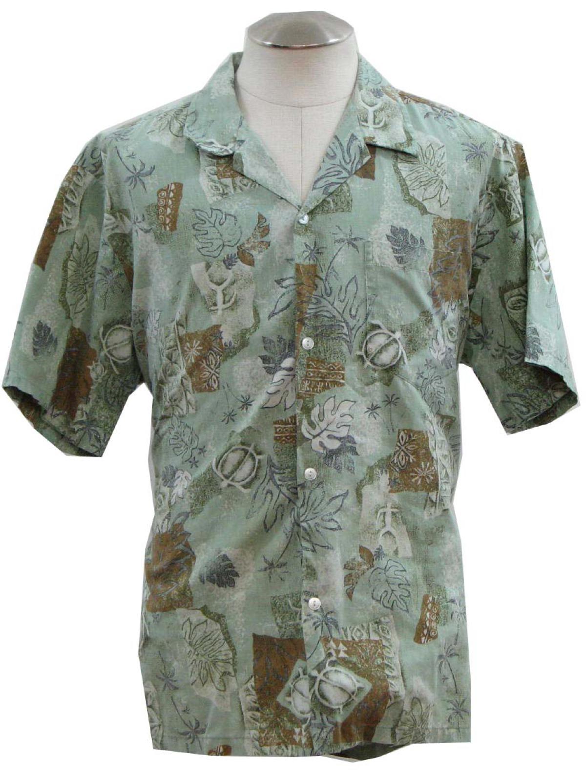 beeff0ba9 Retro Eighties Hawaiian Shirt: 80s -Howie- Mens dusty light green ...