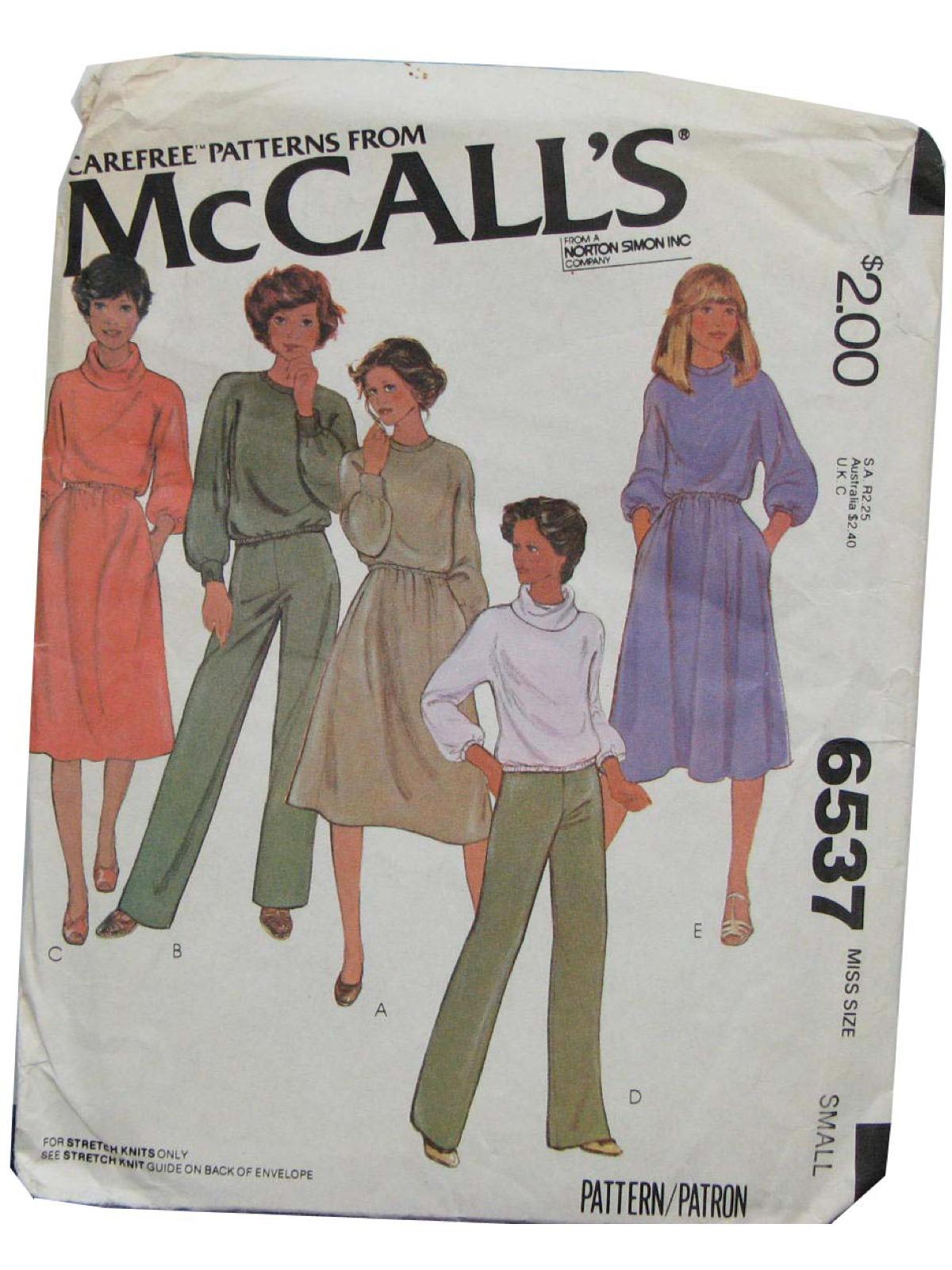 1970s Vintage Sewing Pattern 1979 Mccalls Pattern No