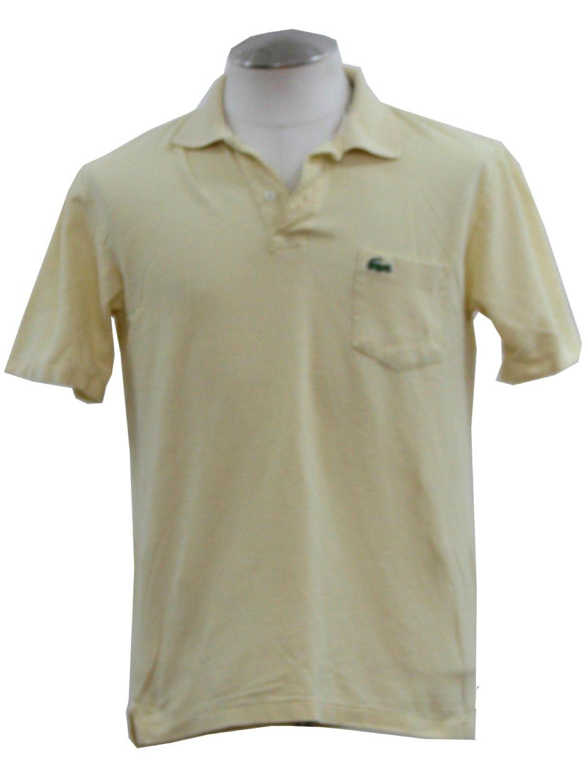 Izod Eighties Vintage Shirt 80s Izod Mens Soft Yellow Woven