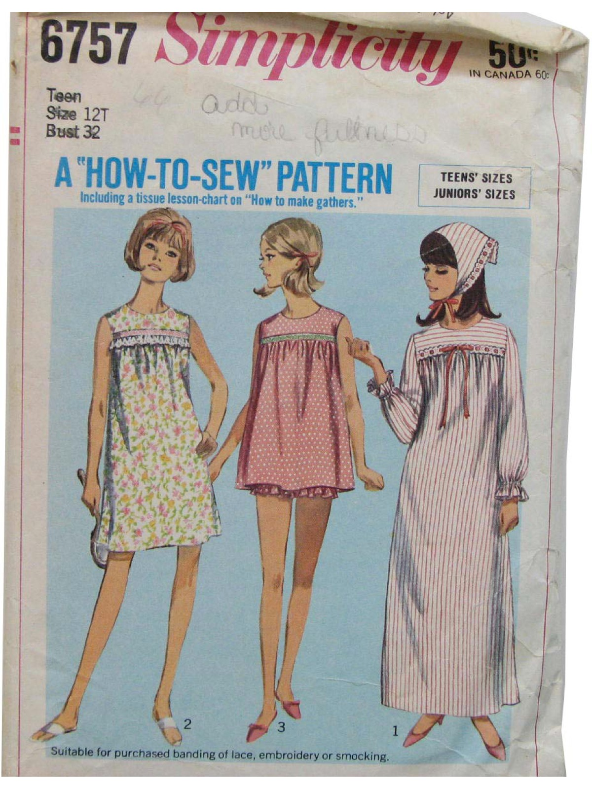 1960 s Sewing Pattern  60s -Simplicity Pattern No. 6757- Teens nightgown in  two lengths or pajamas and scarf. The nightgown and pajama top gathered to  yoke ... d103dbdc7