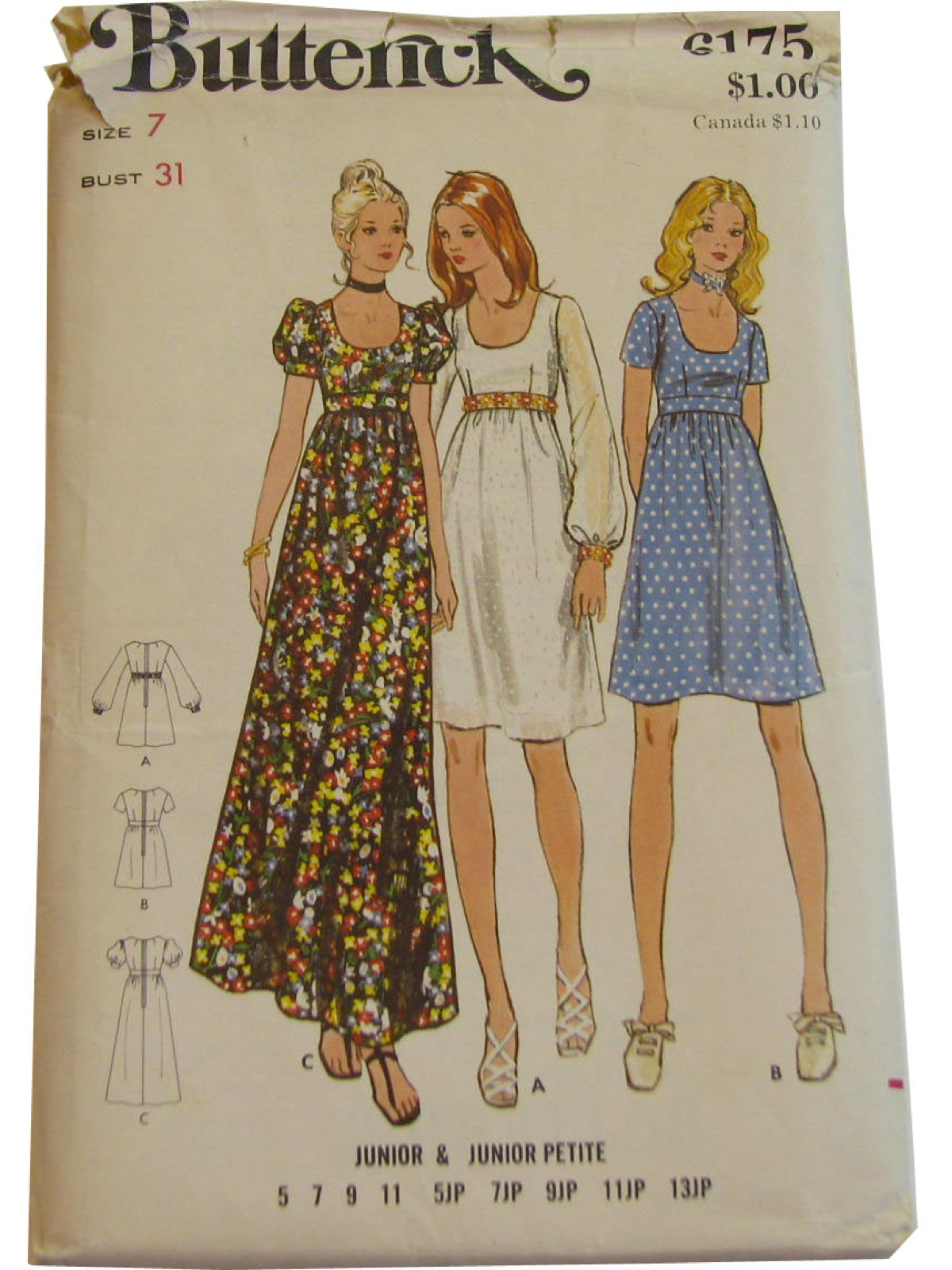 Retro 70s Sewing Pattern Butterick 6175 70s Butterick