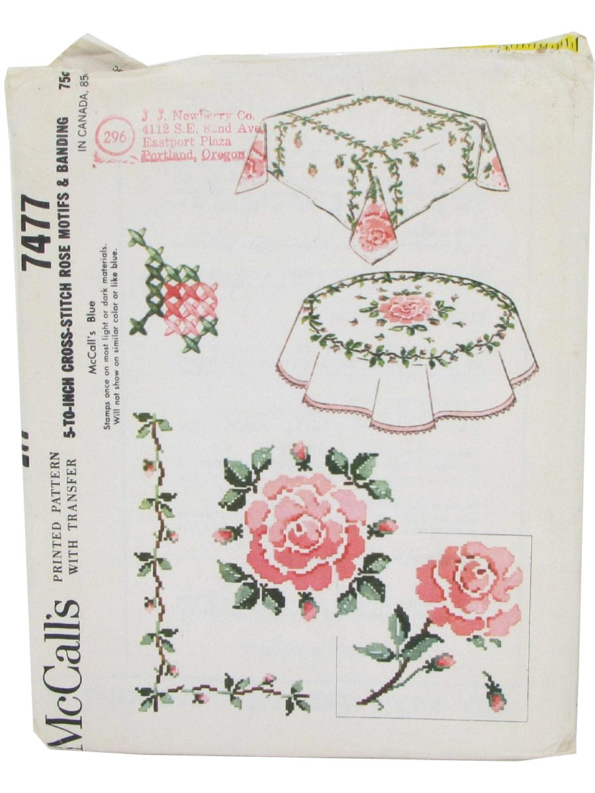 5 To Inch Cross Stitch Rose Motifs And Banding Pattern Includes Enough Transfer Trim A 52inch Round 52inc Square Tablecloth