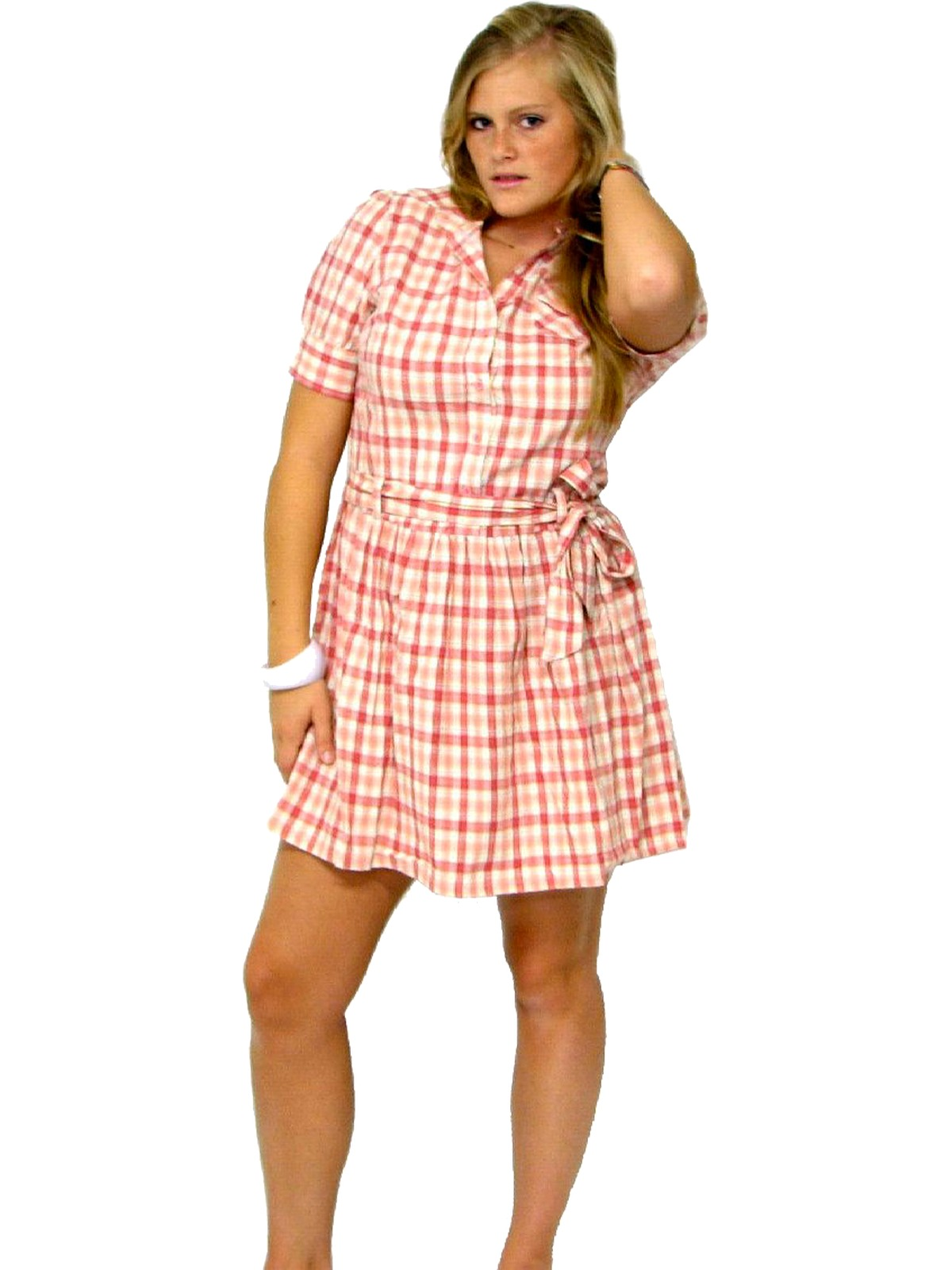 Retro 1950s Mini Dress 50s Style Dmbm Womens Soft Berry Pink And White Somewhat Nubby Textured Cotton Plaid Short Sleeve Inspired Shirtwaist