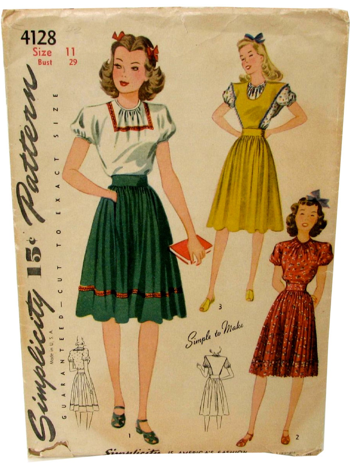 1940 s vintage simplicity pattern no 4128 sewing pattern 40s