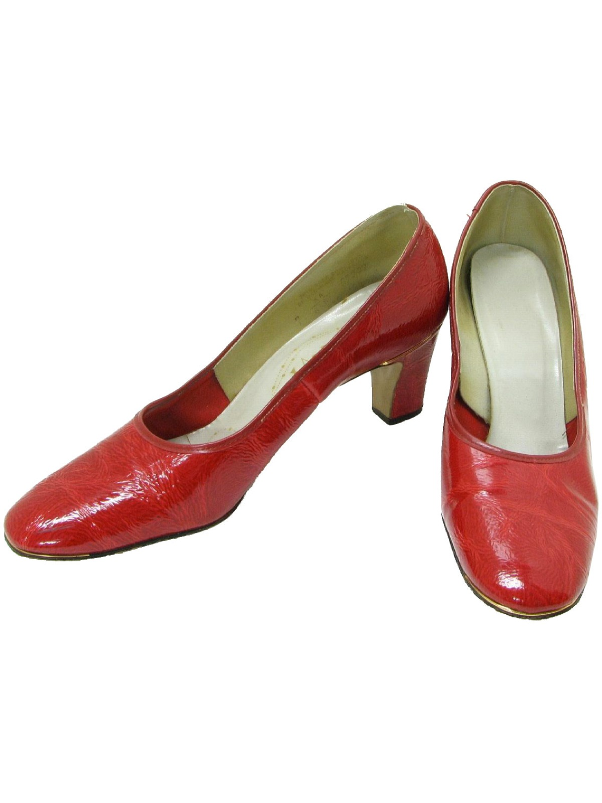 1960s Shoes Larks 60s Larks Womens Red Textured
