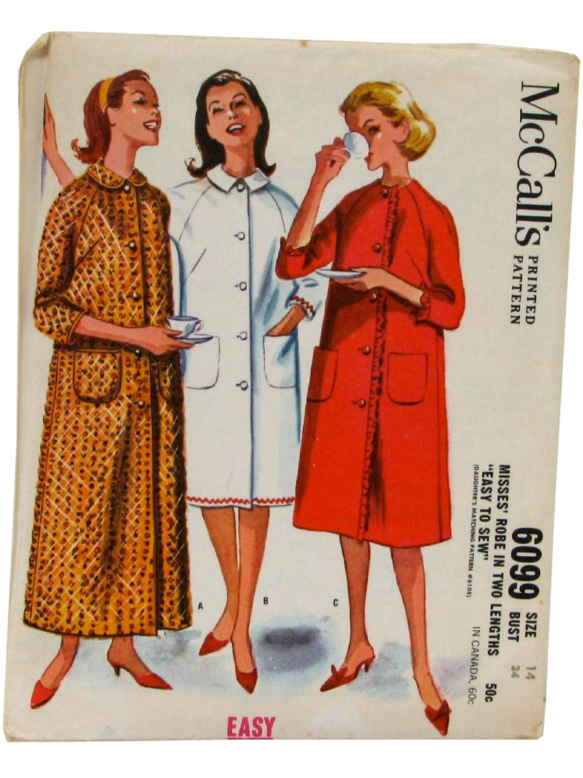 1960s vintage sewing pattern 60s mccalls pattern no 6099 1960s vintage sewing pattern 60s mccalls pattern no 6099 womens single breasted robe in two lengths with three quarter length raglan sleeves jeuxipadfo Gallery