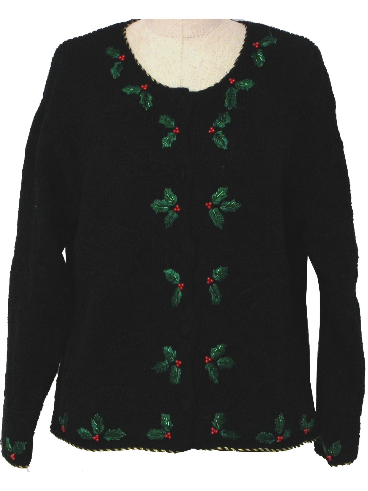 ugly christmas sweater croft and barrel unisex black cotton and ramie hand knit christmas sweater with scoop round neckline dimensional knit in holly