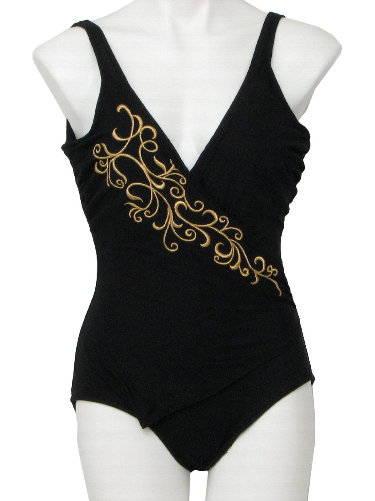 757117cfe7ae6 Vintage Slimsuit Eighties Swimsuit Swimwear  80s -Slimsuit- Womens black  nylon and spandex one piece totally 80s swimsuit with cross over gold  embroidered ...