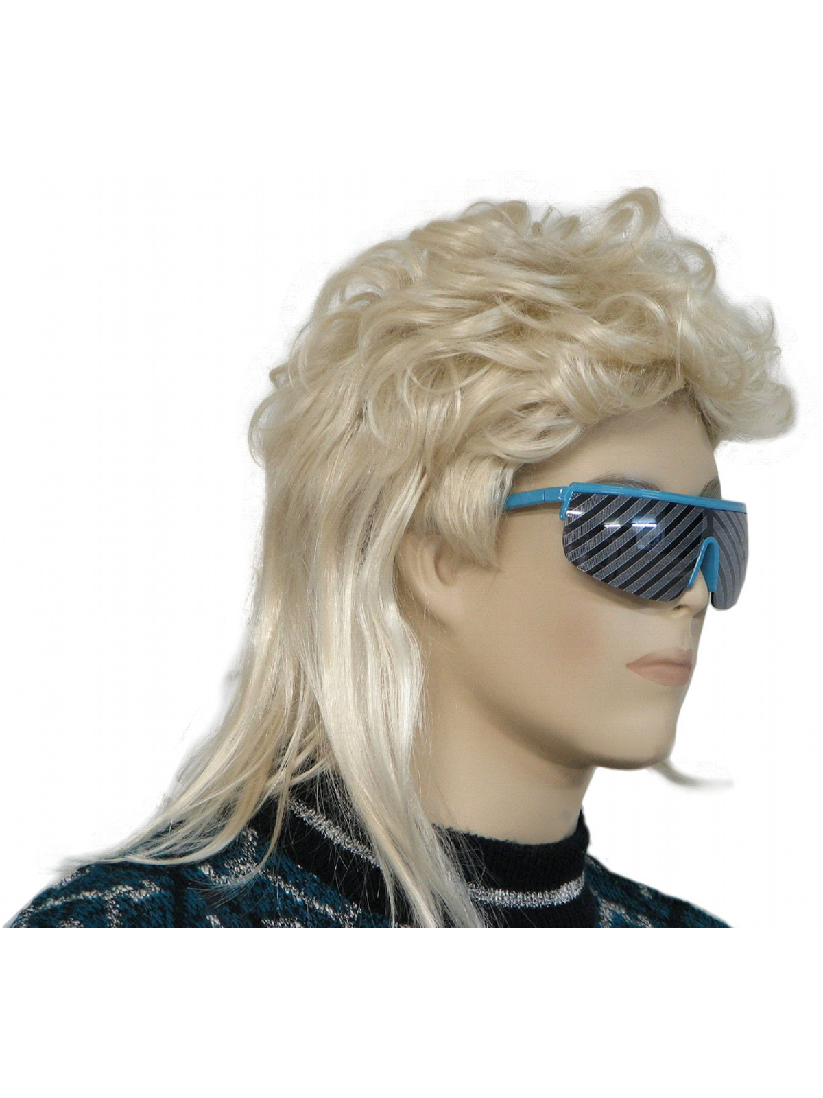 Glasses Mullet Wig Unisex Totally 80s Style Blond
