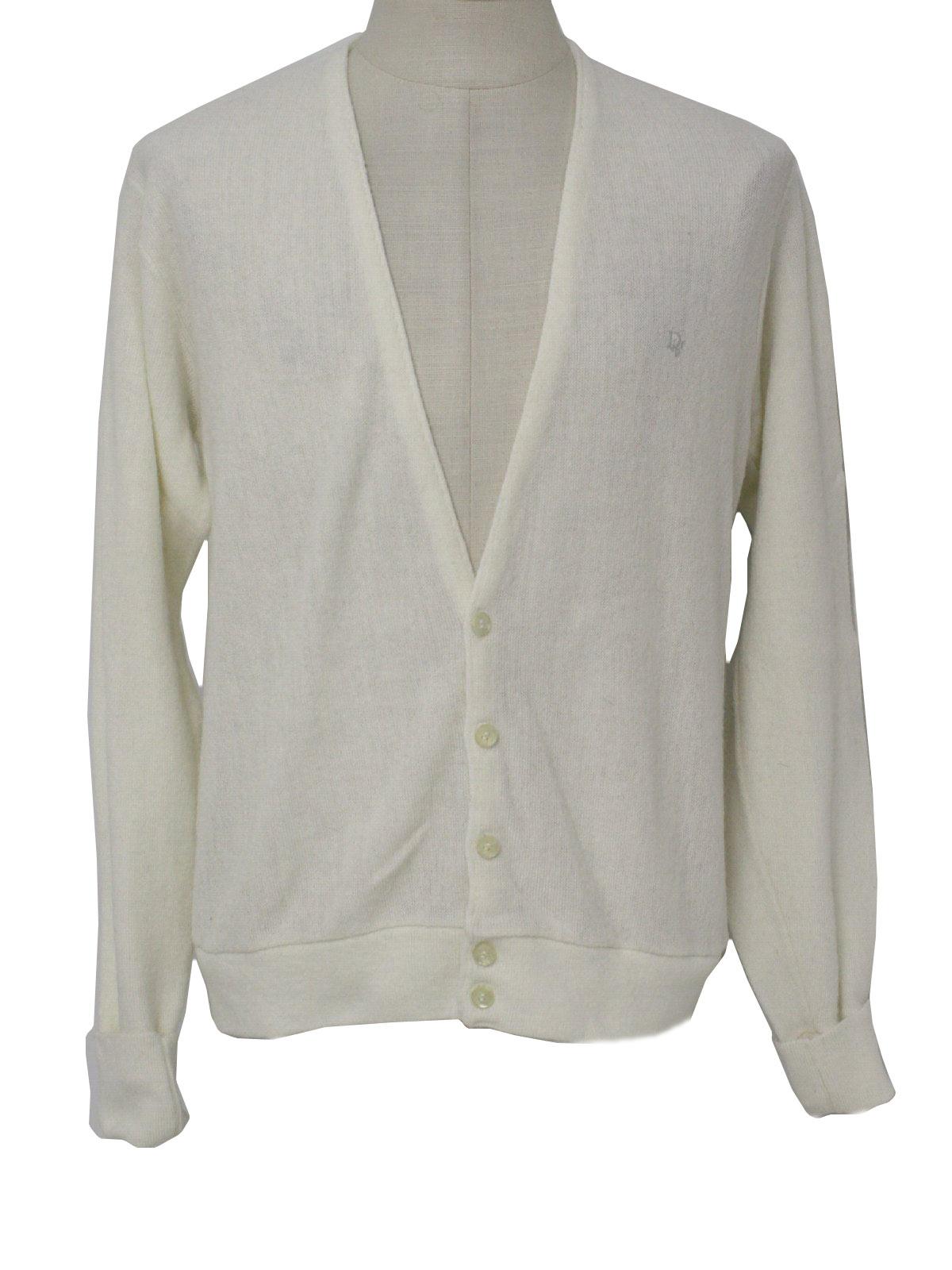 1980's Retro Caridgan Sweater: 80s -Christian Dior- Mens off white ...