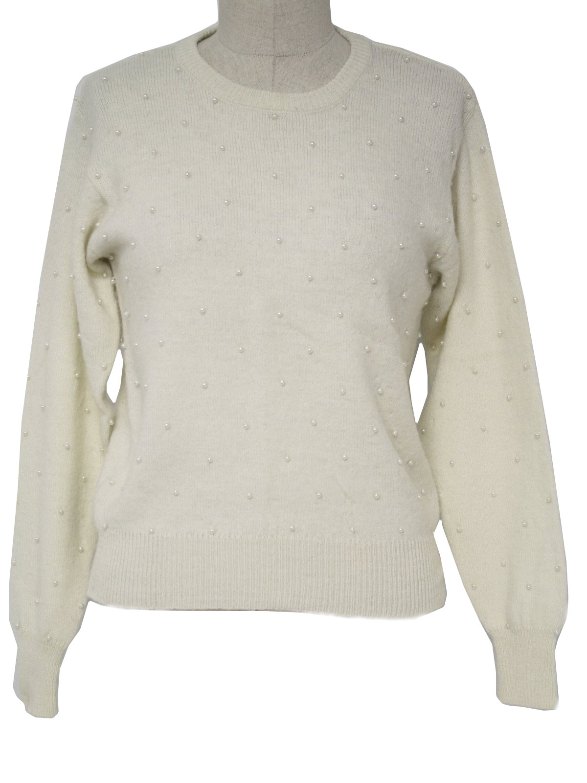 Retro 1960s Sweater: 60s -Andrea Gayle- Womens winter white soft ...