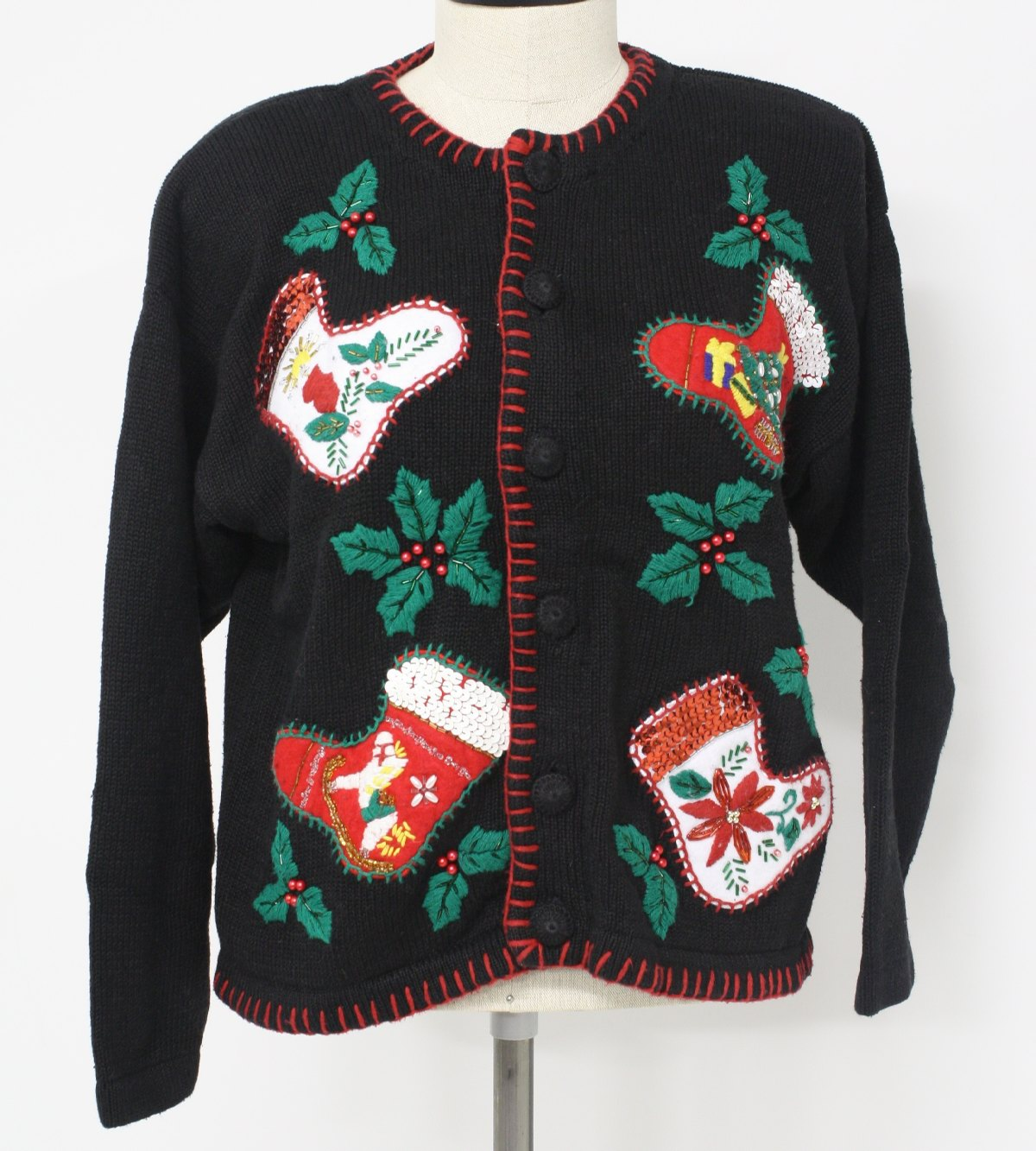 Womens Ugly Christmas Sweater Victoria Jones Womens Black Red