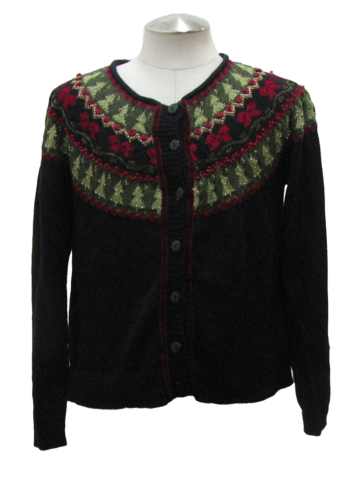 Womens Ugly Christmas Sweater Coldwater Creek Womens Black Red