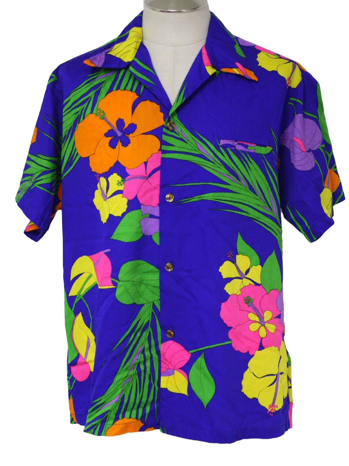 1970 S Retro Hawaiian Shirt 70s Walta Clarkes Mens Blue