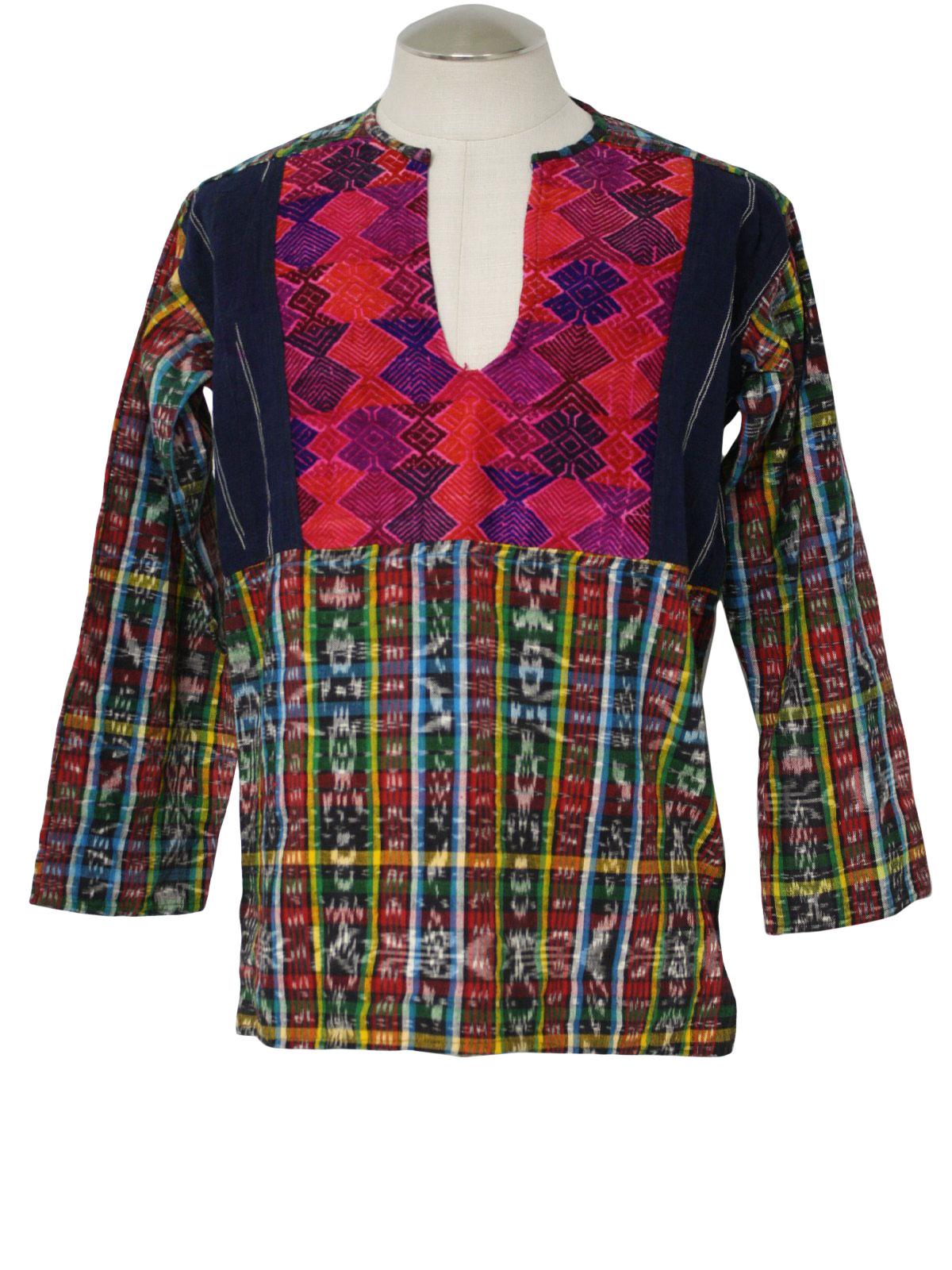70 39 s hippie shirt 70s no label mens multi color woven