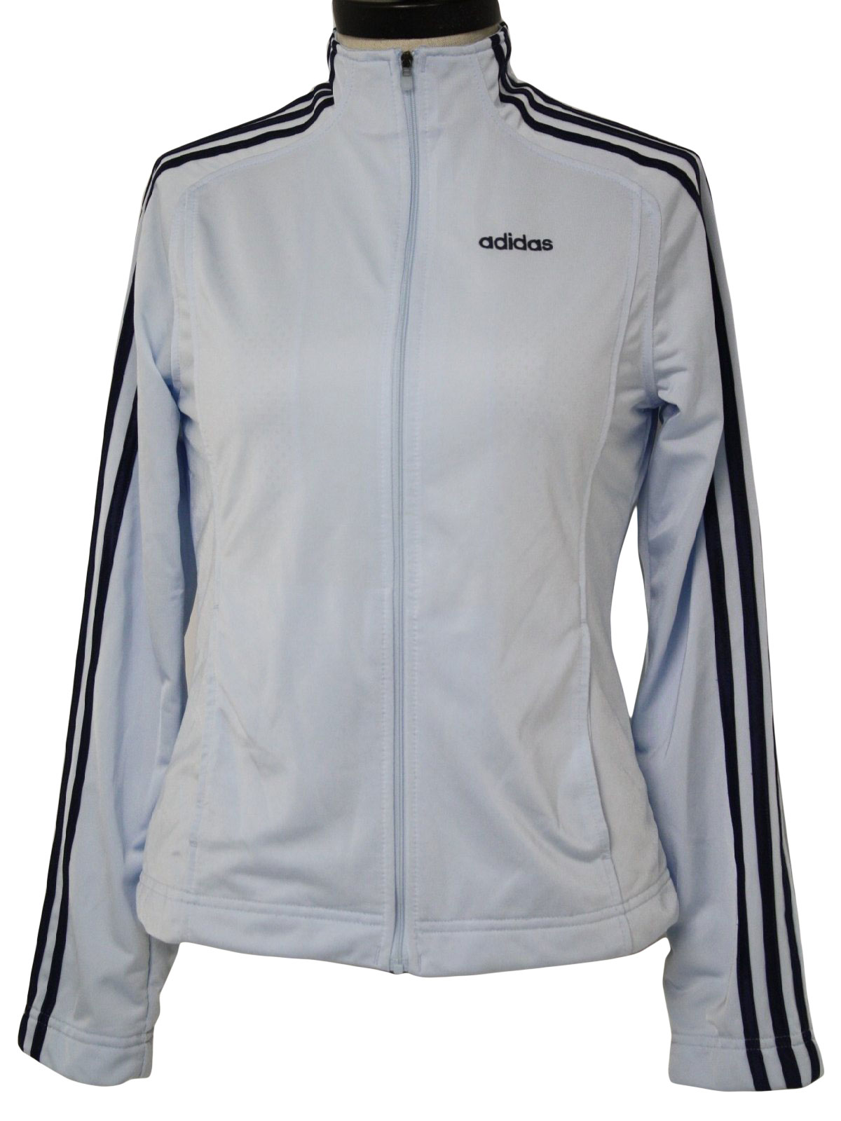 Retro 90s Jacket (Adidas) : 90s -Adidas- Womens sky blue and navy blue  polyester long sleeve track jacket with adidas logo embroidered on left  chest, ...