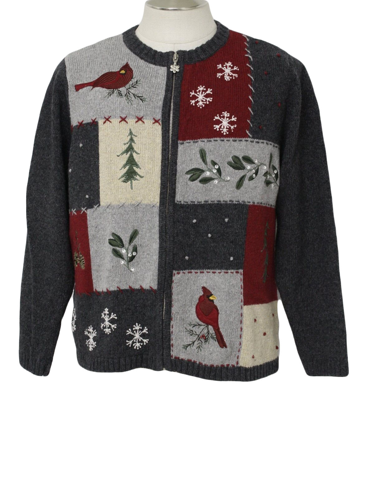 womens ugly christmas sweater croft and barrow womens shaded grey wine yellow black and green bird snowflake and tree print ramie and cotton zip