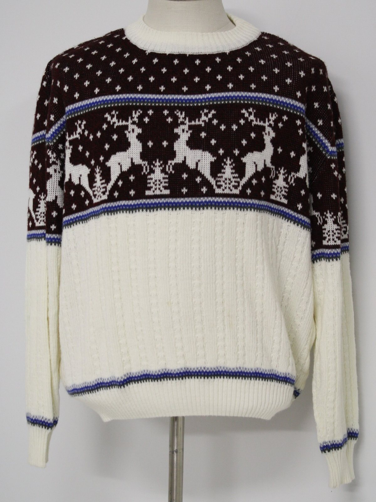 Retro Eighties Mens Cable Knit Christmas Ski Sweater: 80s -Flat ...