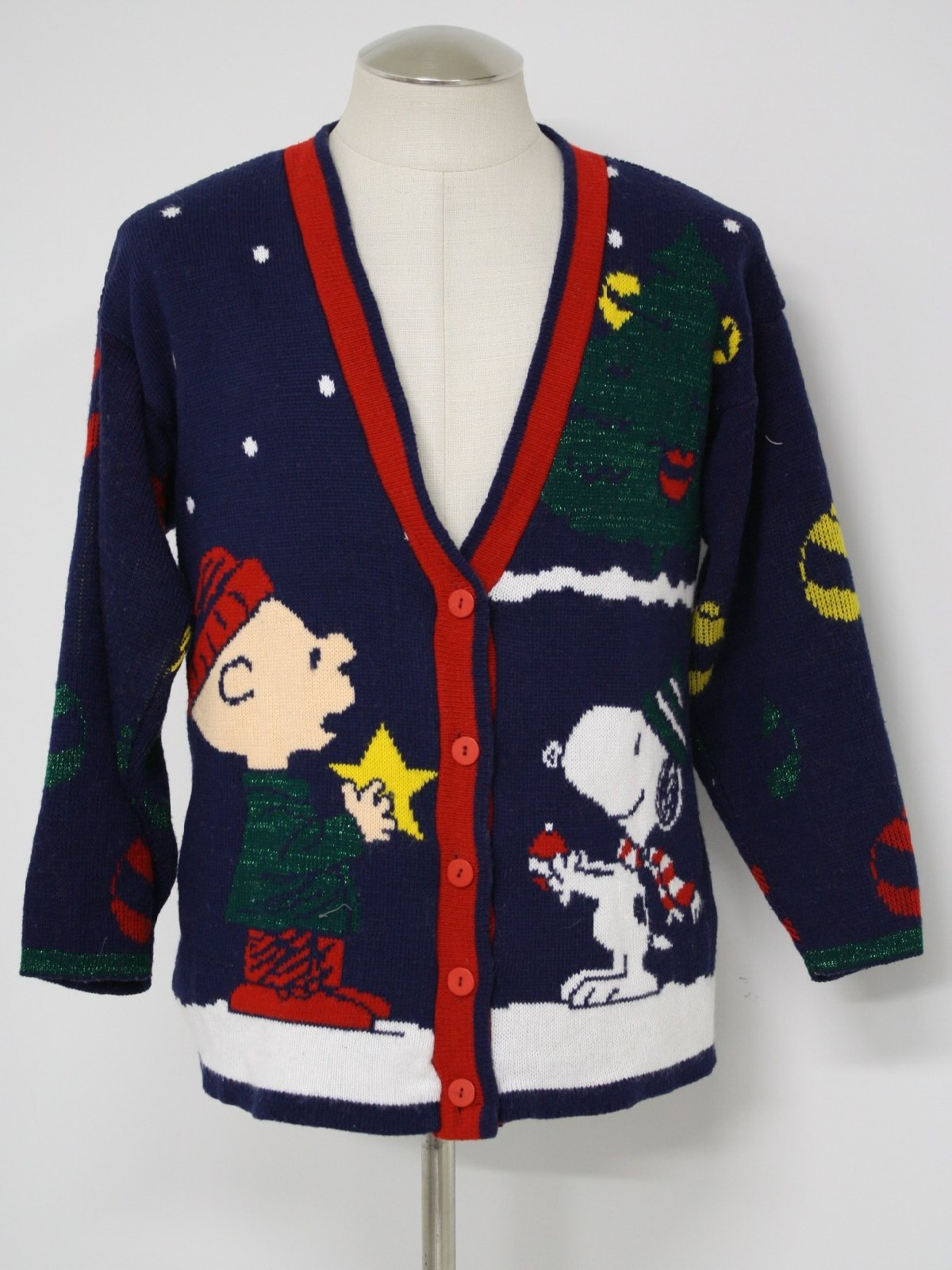 Retro 1980s Ugly Christmas Sweater 80s Vintage Snoopy And Friends