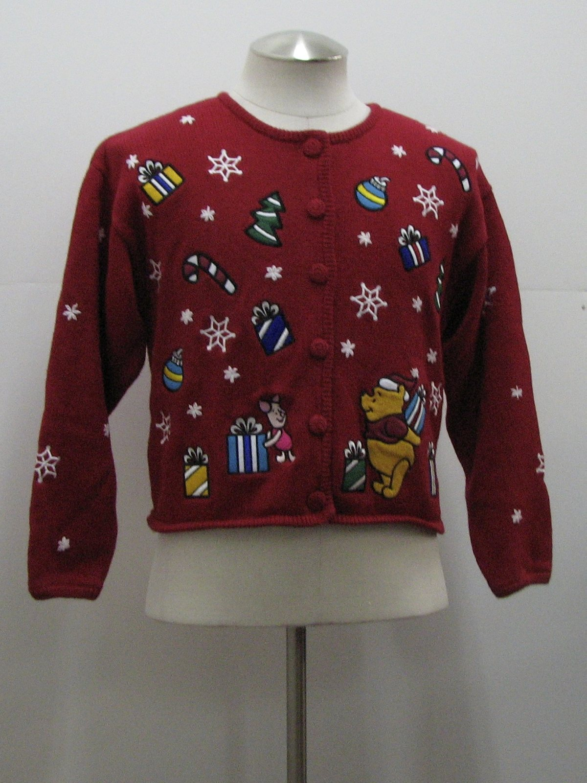 Womens Ugly Christmas Sweater Disney Womens Red Cotton Ramie