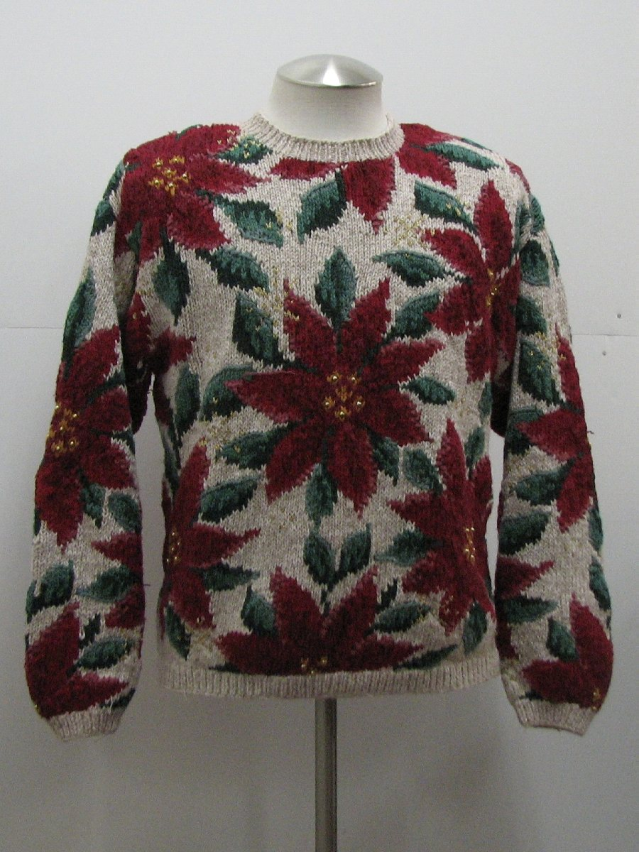 Womens Ugly Christmas Sweater: -Talbots- Womens white beige blend ...