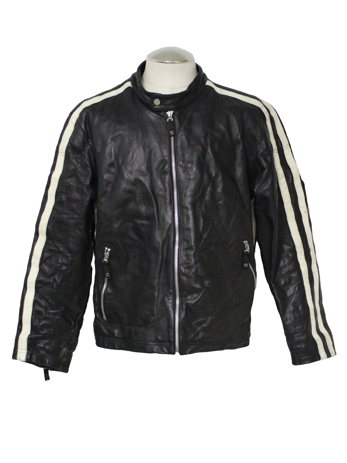 1980's Retro Leather Jacket: 80s -Wilson- Mens black and white leather