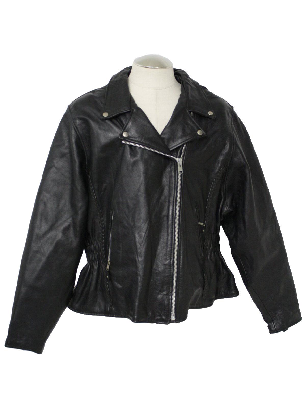 1980s Retro Leather Jacket 80s No Label Womens Black