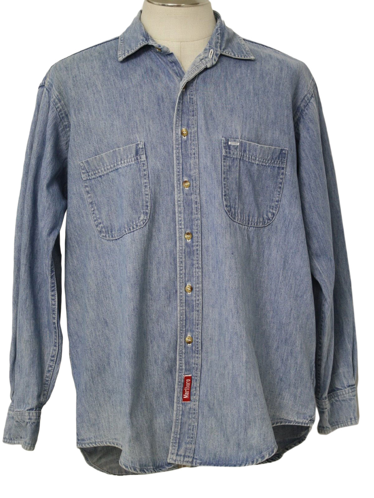 1980s marlboro shirt 80s marlboro mens faded blue heavy for Blue cotton work shirts