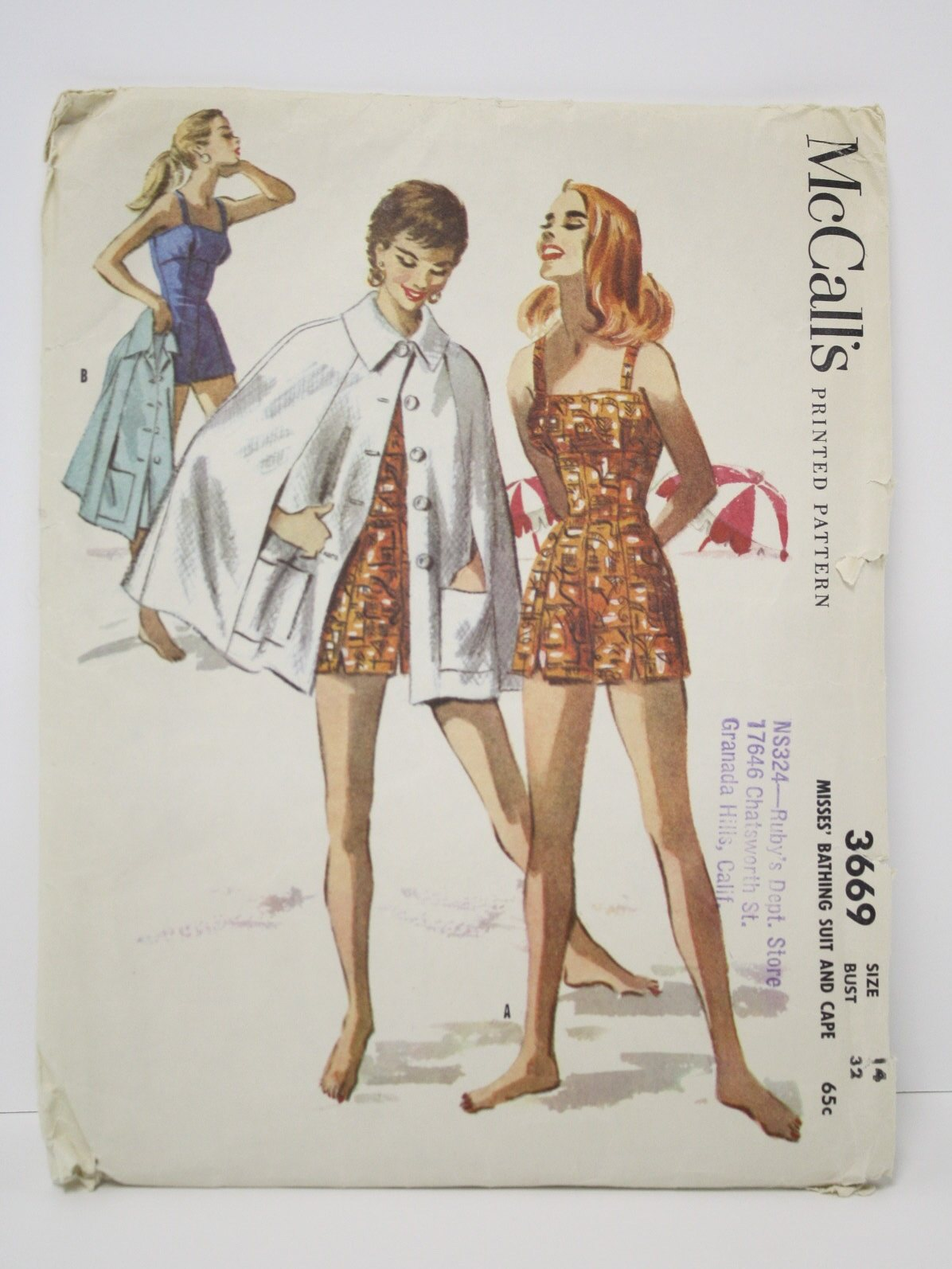 3669 Sewing Pattern: 1956 -McCalls Pattern No. 3669- Womens sewing pattern  for fitted one-piece bathing suit with shorts-style legs, button-front  beach cape ...