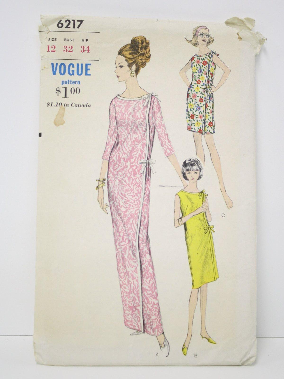 60s Retro Sewing Pattern C 1966 Vogue Pattern No 6217