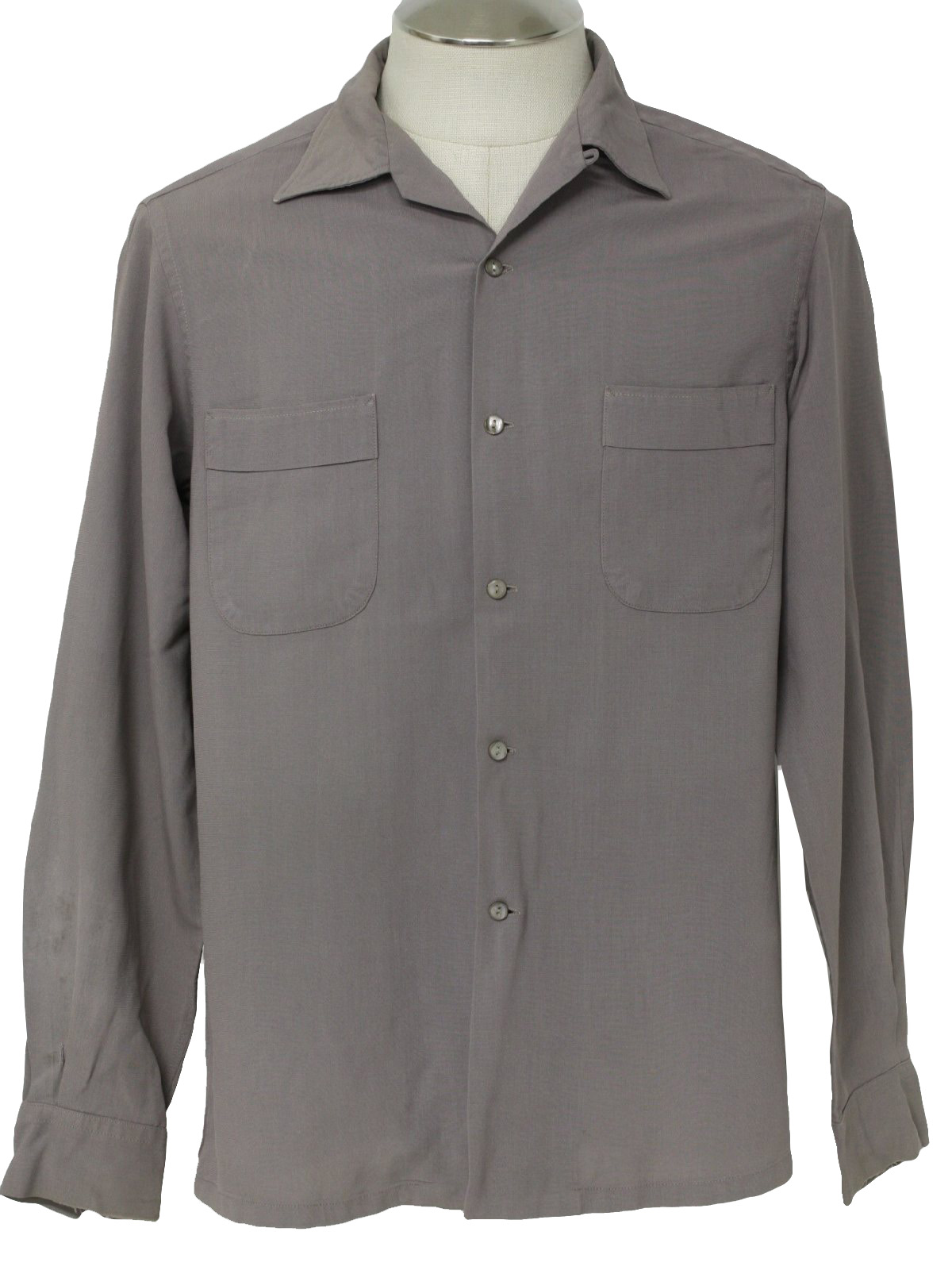 Vintage 50s gabardine shirt 50s herb gerry mens taupe for Mens shirts with cufflink holes