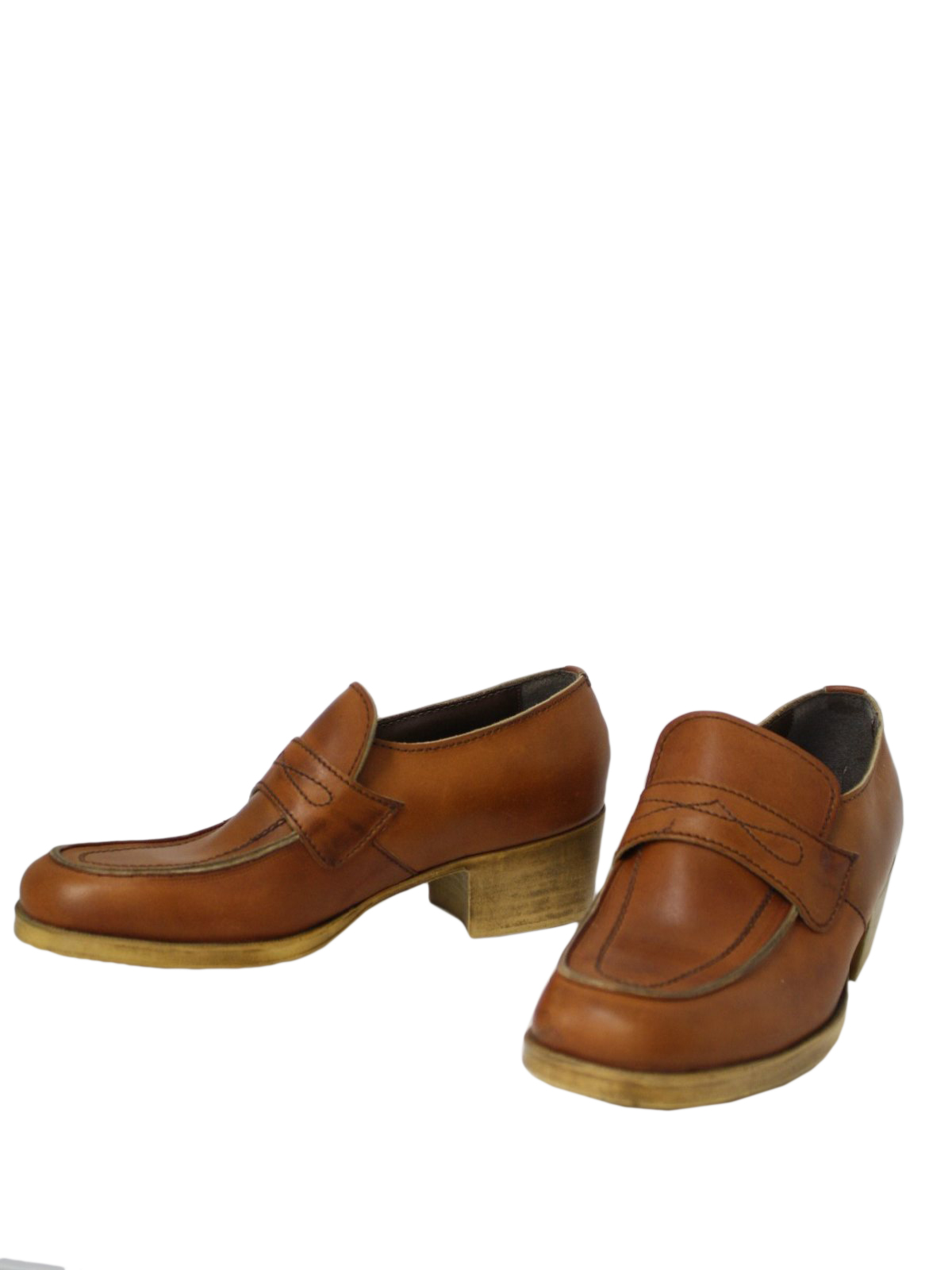 vintage 70s shoes 70s freeman mens brown leather loafer