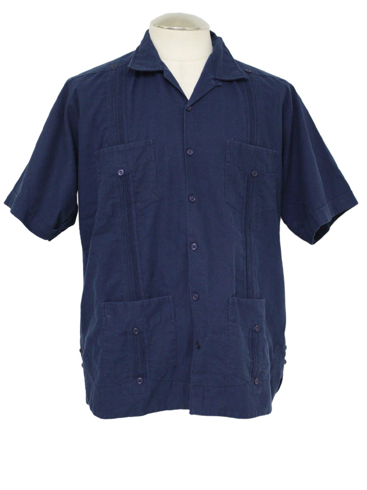 4267dca8c38ab Vintage 1980 s Guayabera Shirt  80s -Hacendado- Mens dark blue ...