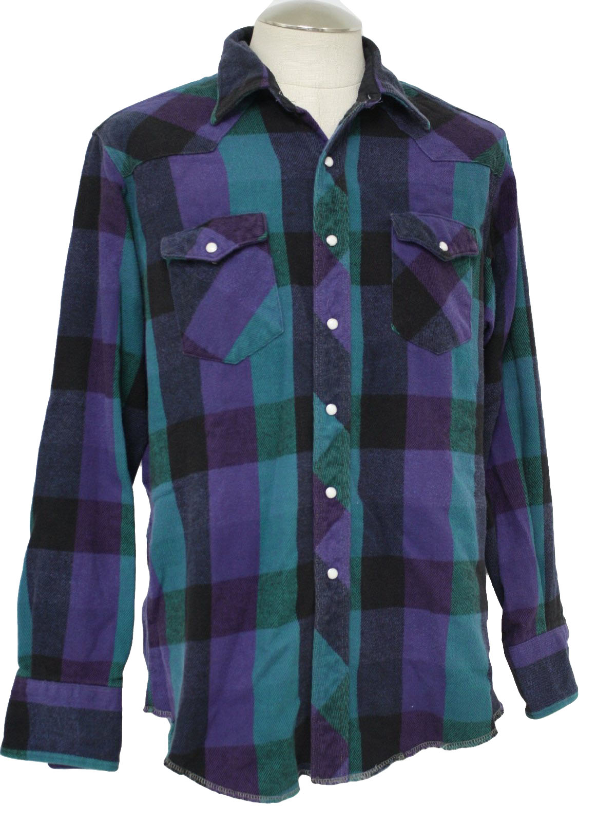 Mens Purple Plaid Flannel Shirt