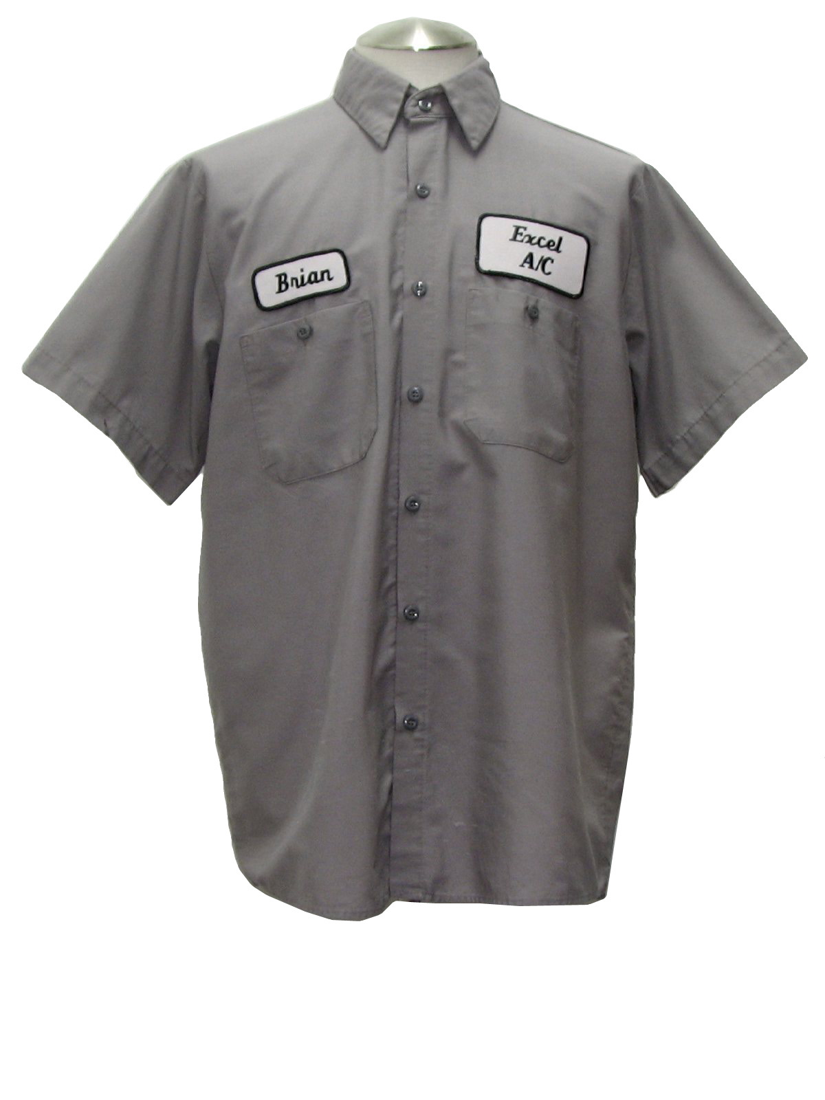 1990's Shirt (UniWeave): 90s -UniWeave- Mens grey short sleeve ...
