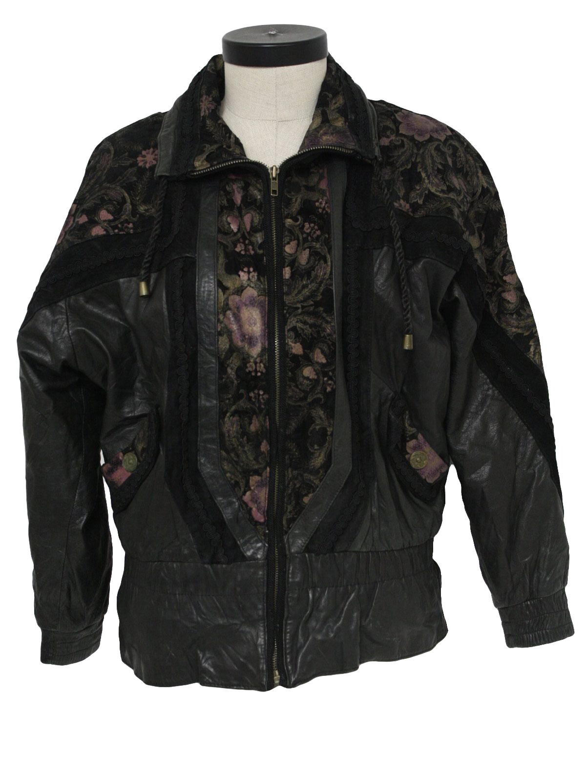Retro 80's Leather Jacket: 80s -Jay Jacobs- Womens black, gold and ...