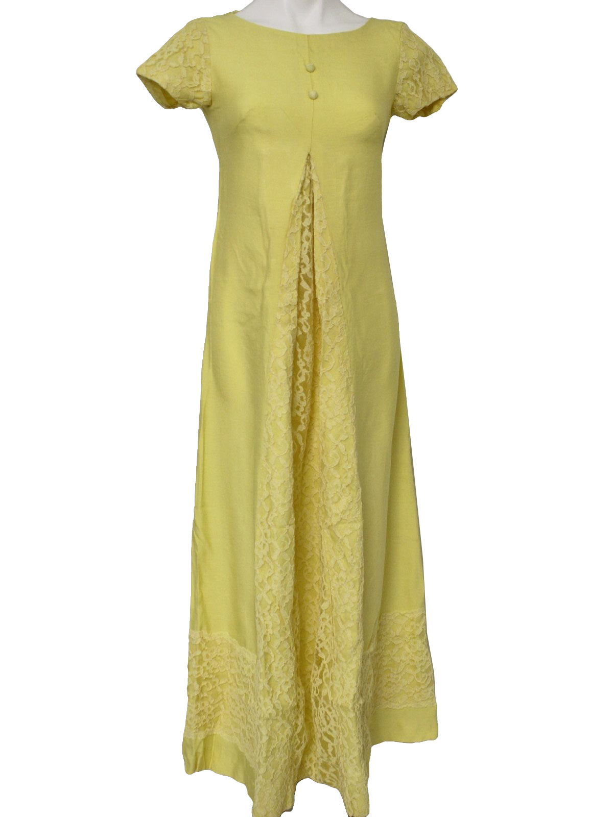 Vintage 1960s dress 60s home sewn womens sunshine yellow vintage 1960s dress 60s home sewn womens sunshine yellow cotton blend floor length mod style maternity cut a line dress with rounded neckline ombrellifo Image collections