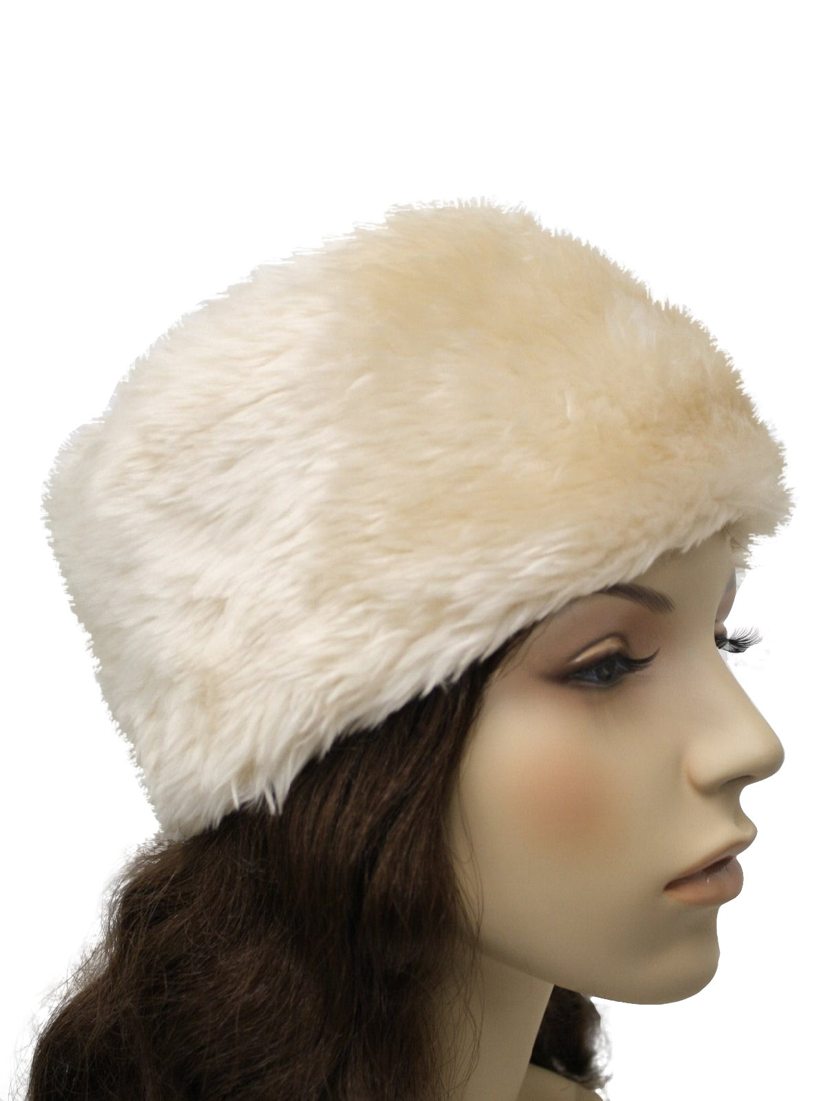 60s Hat (Label Missing)  60s -Label Missing- Womens cream faux fur ... e62aacbd9ee