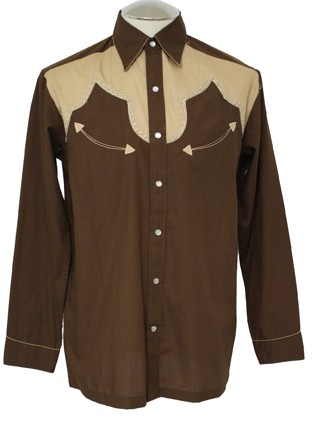 1970 39 s retro western shirt 70s kennington mens for Mens chocolate brown shirt