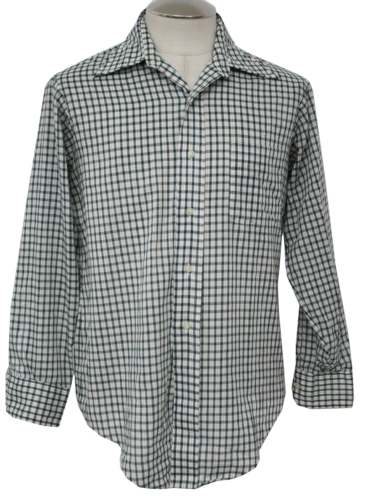Retro 70's Shirt: 70s -Van Heusen- Mens white, green and gold ...
