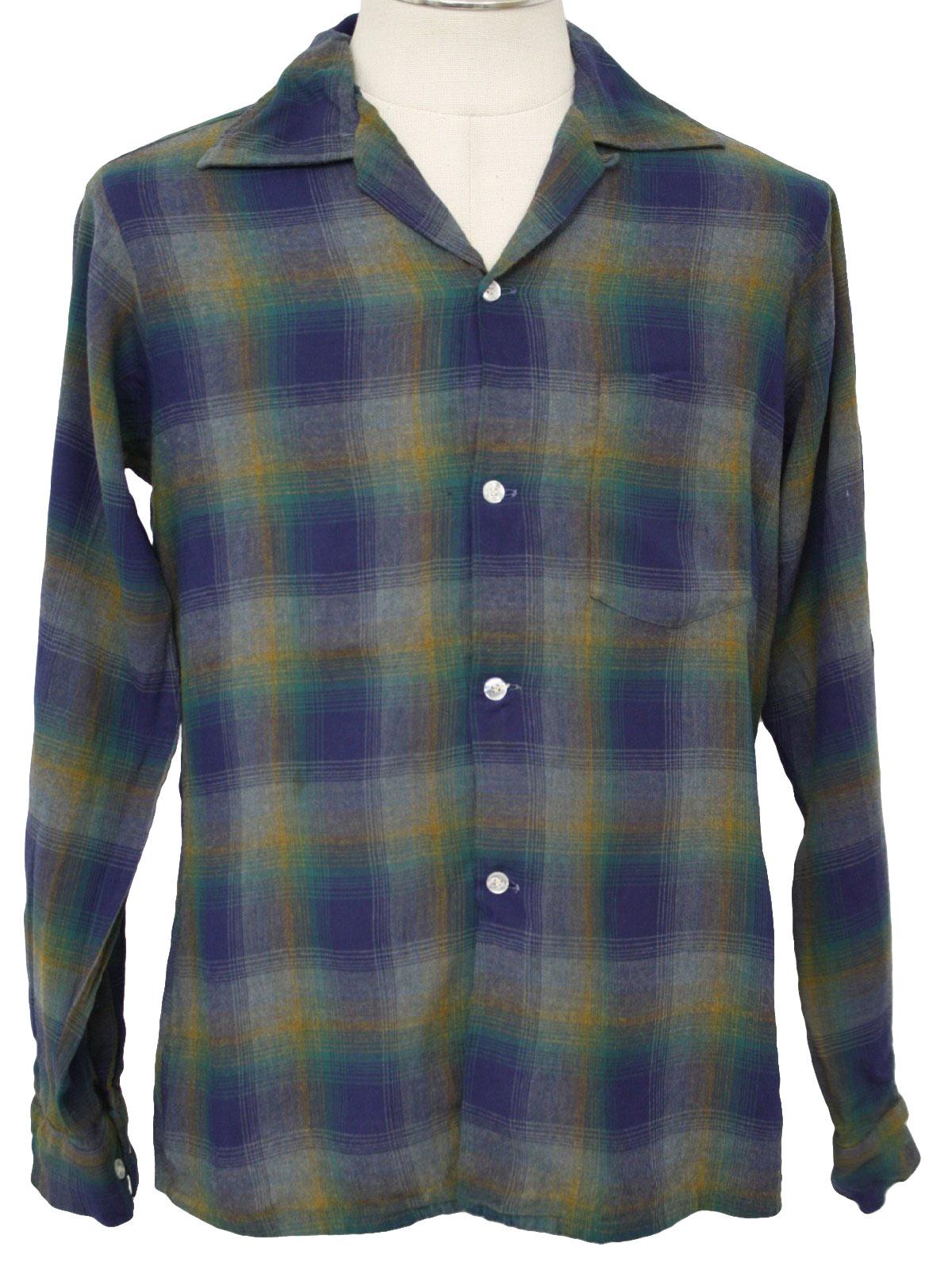 1960 39 s vintage arrow gabardine shirt 60s arrow mens for Mens rayon dress shirts