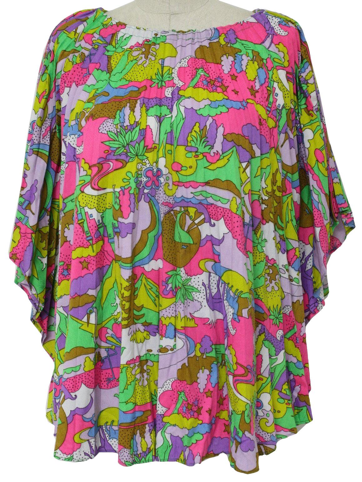 Retro 70 s Hippie Shirt  70s -Missing Label- Womens bright green ... 58bde0cbe