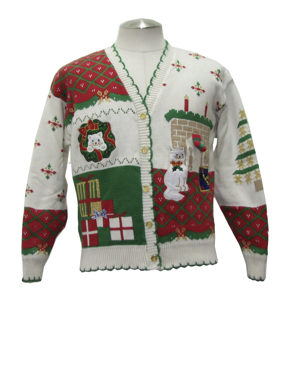 Womens Country Kitsch Cat Tastic Ugly Christmas Sweater Sweater Loft Womens White Background