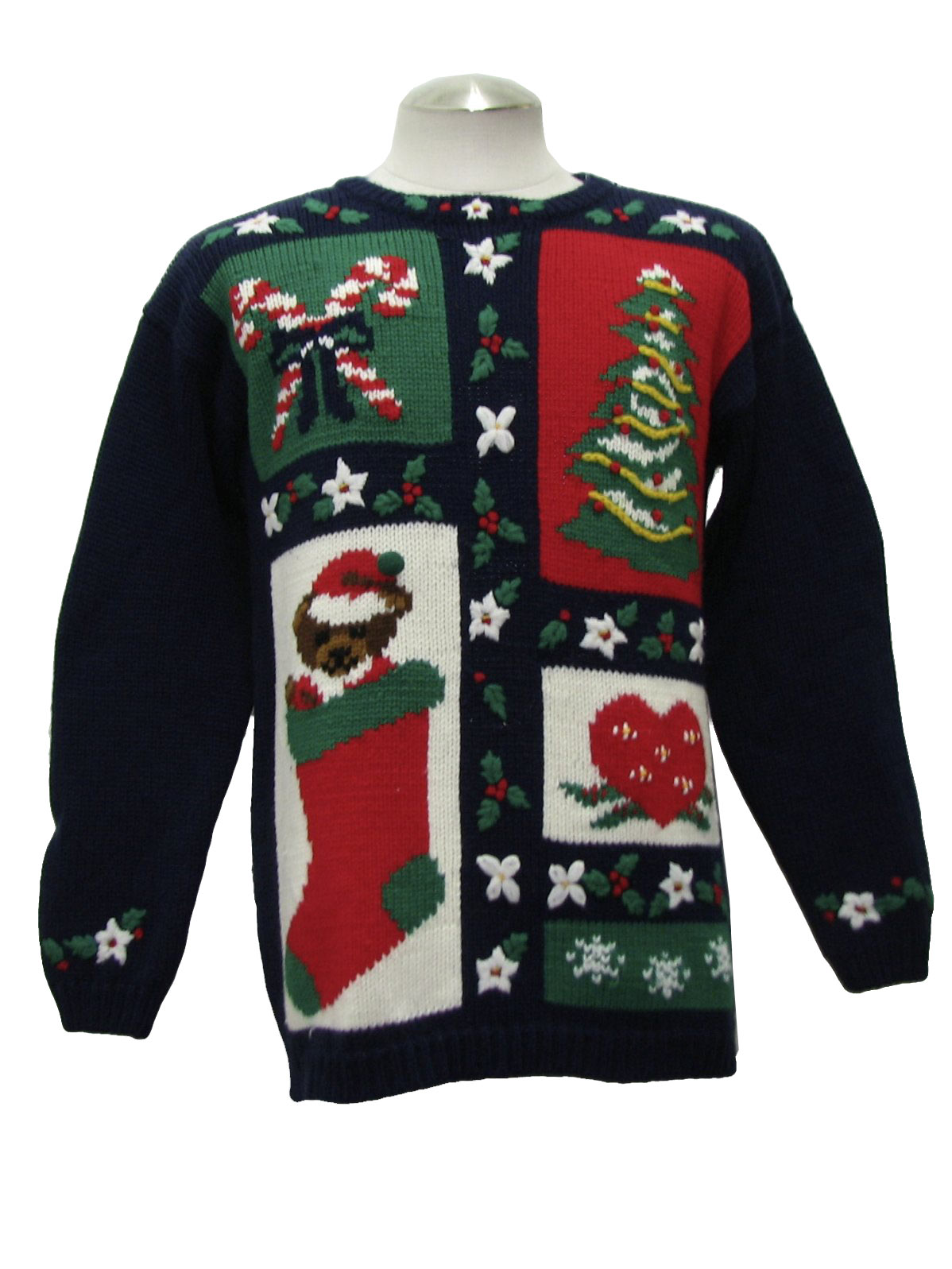 Christmas sweater round neckline with flowers holly boughs candy